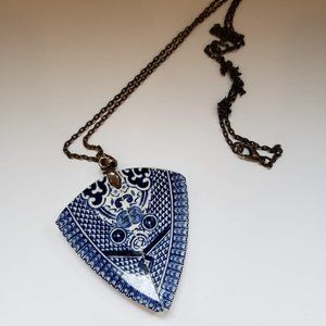 Handmade Blue Willow China Pendant Necklace